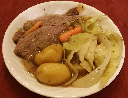 Plate of natural corned beef and cabbage