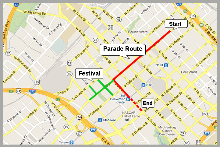 Charlotte. NC St. Patrick's Day Parade route
