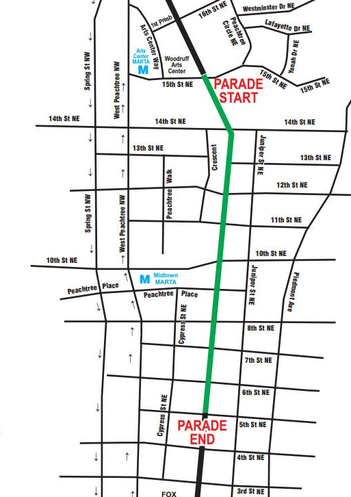 Atlanta St. Patrick's Day Parade route map